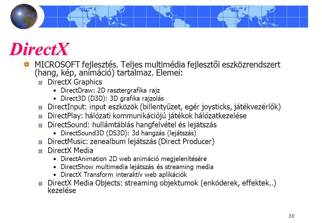 30 DirectX MICROSOFT fejlesztés. Teljes multimédia fejlesztői eszközrendszert (hang, kép, animáció) tartalmaz. Elemei: DirectX Graphics DirectDraw: 2D