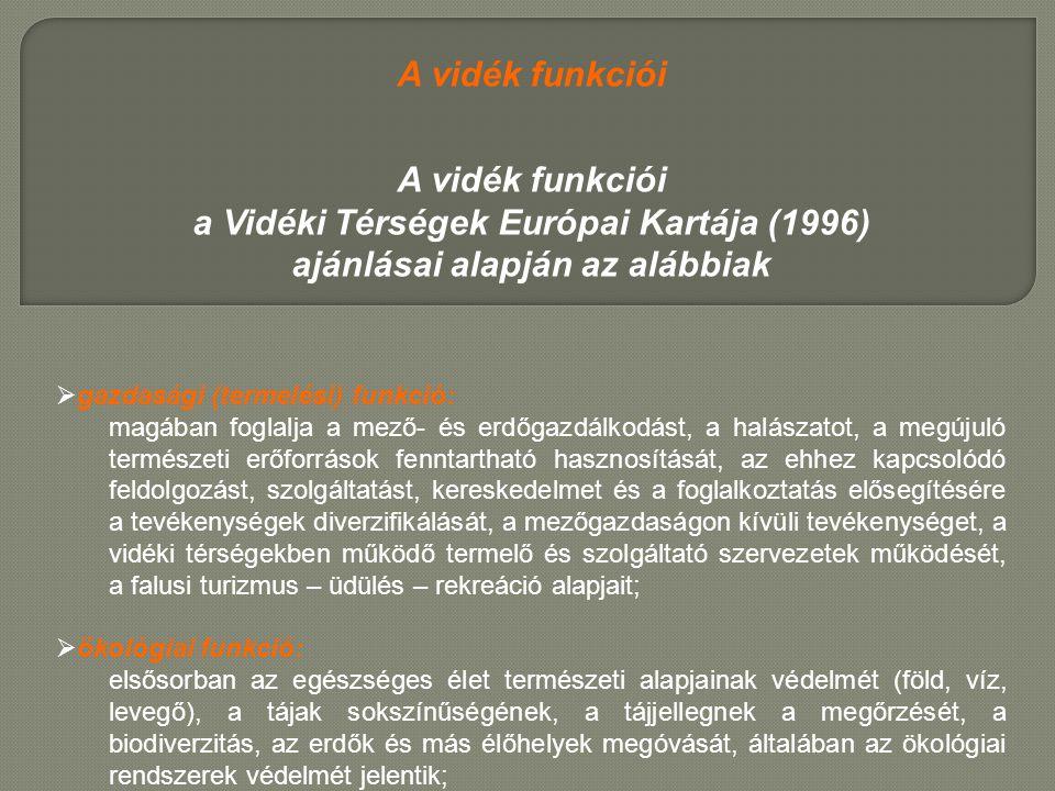 A vidék funkciói a Vidéki Térségek Európai Kartája (1996) ajánlásai alapján az alábbiak  gazdasági (termelési) funkció: magában foglalja a mező- és e