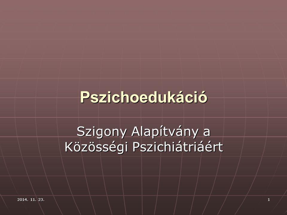 2014. 11. 23.2014. 11. 23.2014. 11. 23.1 Pszichoedukáció Szigony Alapítvány a Közösségi Pszichiátriáért