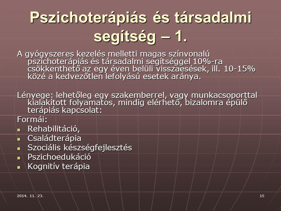 2014. 11. 23.2014. 11. 23.2014. 11. 23.15 Pszichoterápiás és társadalmi segítség – 1. A gyógyszeres kezelés melletti magas színvonalú pszichoterápiás
