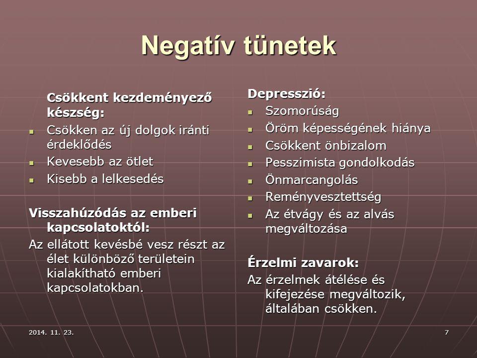 2014. 11. 23.2014. 11. 23.2014. 11. 23.7 Negatív tünetek Csökkent kezdeményező készség: Csökken az új dolgok iránti érdeklődés Csökken az új dolgok ir