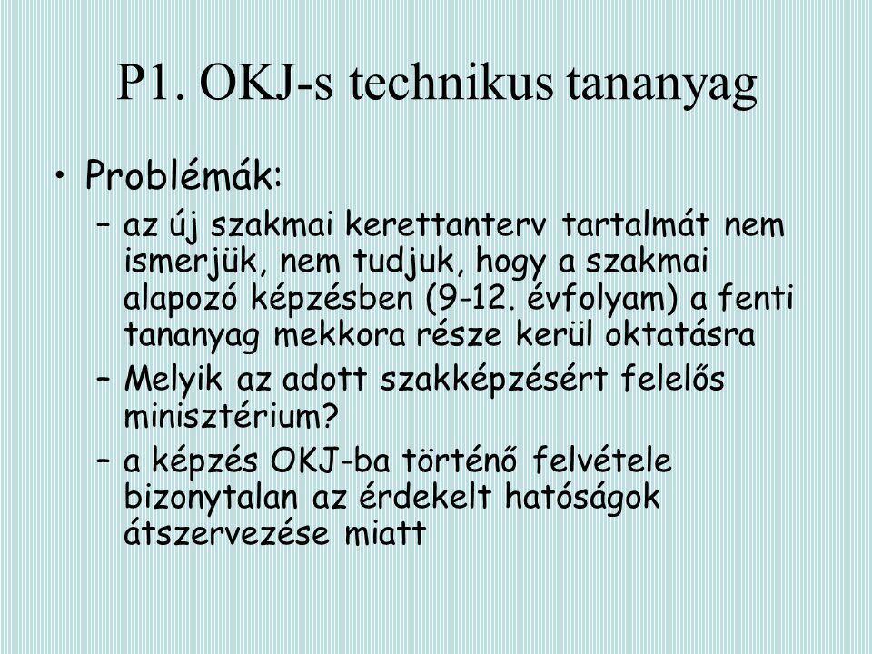 P1. OKJ-s technikus tananyag Problémák: –az új szakmai kerettanterv tartalmát nem ismerjük, nem tudjuk, hogy a szakmai alapozó képzésben (9-12. évfoly