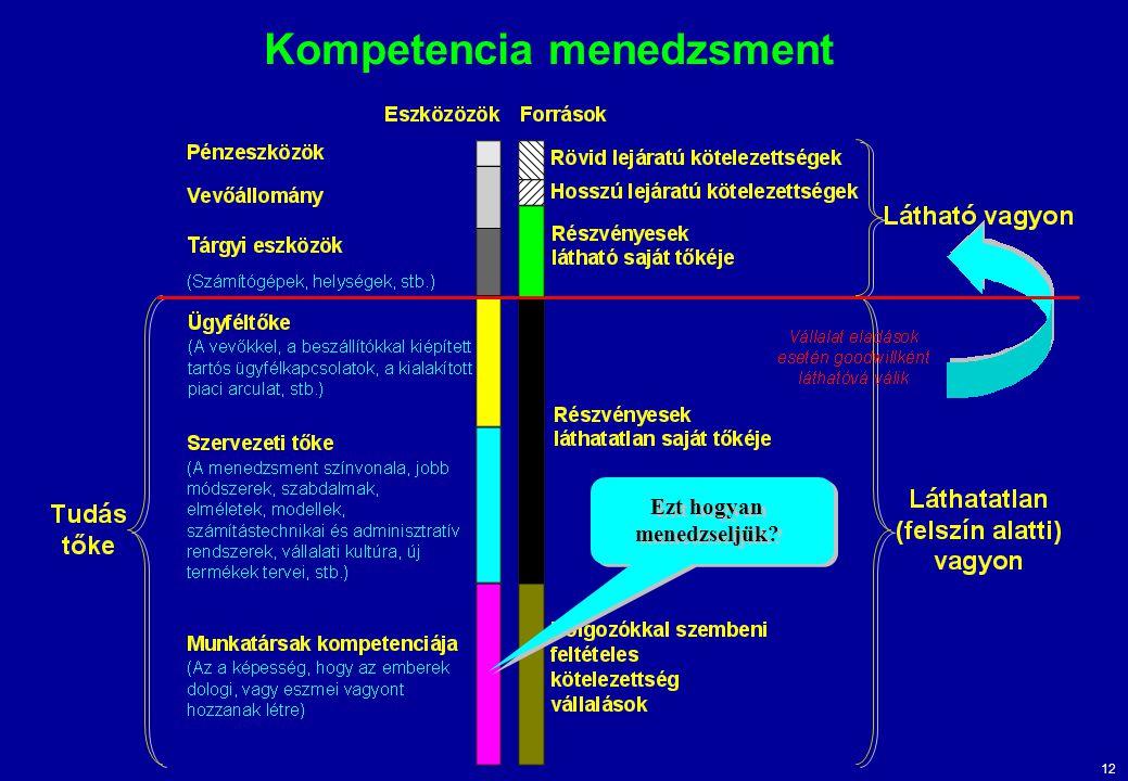 12 Kompetencia menedzsment Ezt hogyan menedzseljük?
