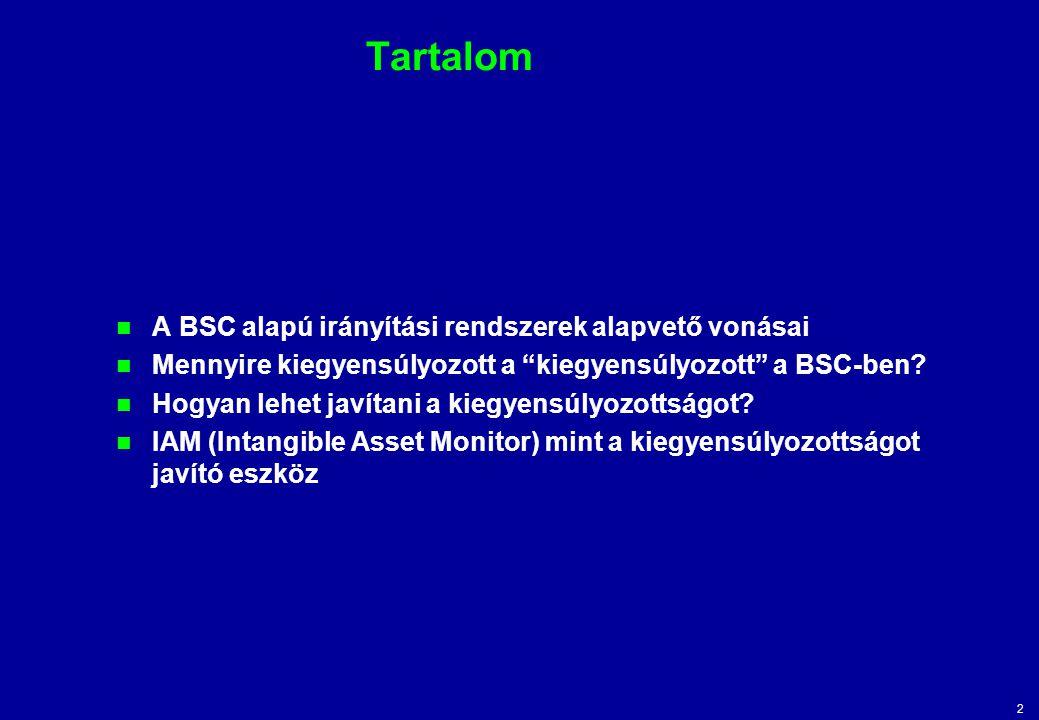 """2 Tartalom A BSC alapú irányítási rendszerek alapvető vonásai Mennyire kiegyensúlyozott a """"kiegyensúlyozott"""" a BSC-ben? Hogyan lehet javítani a kiegye"""