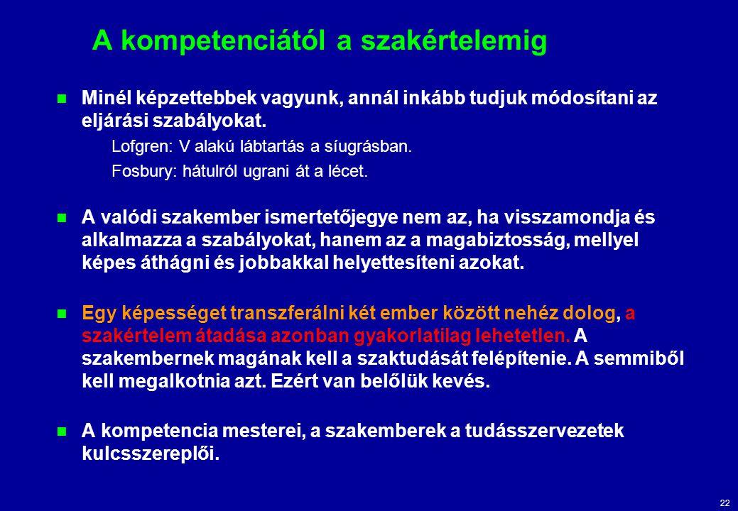 22 A kompetenciától a szakértelemig Minél képzettebbek vagyunk, annál inkább tudjuk módosítani az eljárási szabályokat. Lofgren: V alakú lábtartás a s