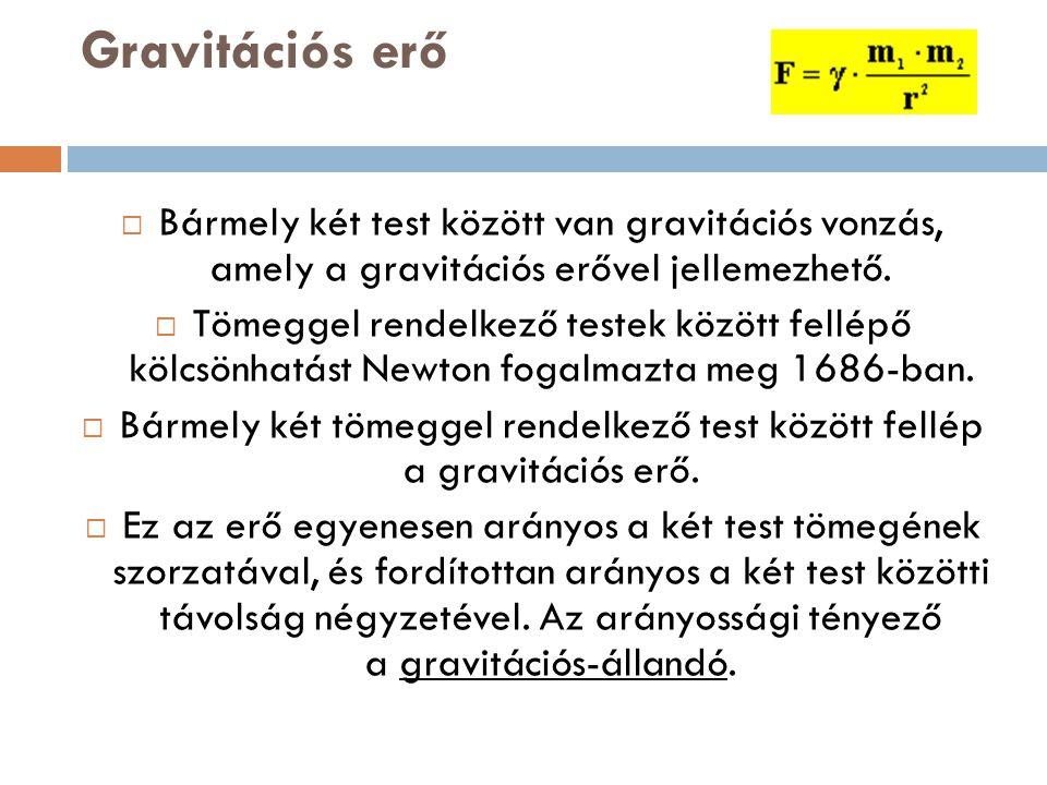 Gravitációs erő  Bármely két test között van gravitációs vonzás, amely a gravitációs erővel jellemezhető.