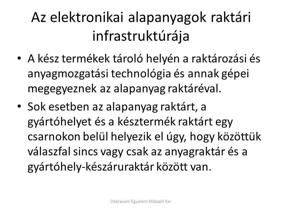Az elektronikai alapanyagok raktári infrastruktúrája A kész termékek tároló helyén a raktározási és anyagmozgatási technológia és annak gépei megegyez