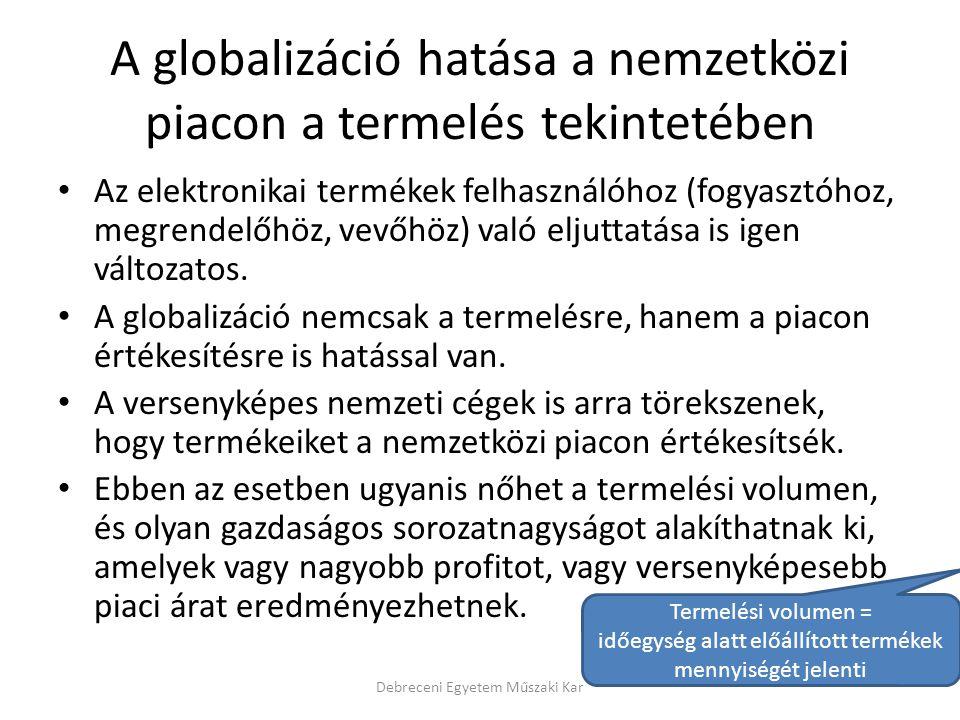A globalizáció hatása a nemzetközi piacon a termelés tekintetében Az elektronikai termékek felhasználóhoz (fogyasztóhoz, megrendelőhöz, vevőhöz) való