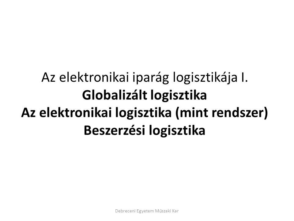 Az elektronikai iparág logisztikája I. Globalizált logisztika Az elektronikai logisztika (mint rendszer) Beszerzési logisztika