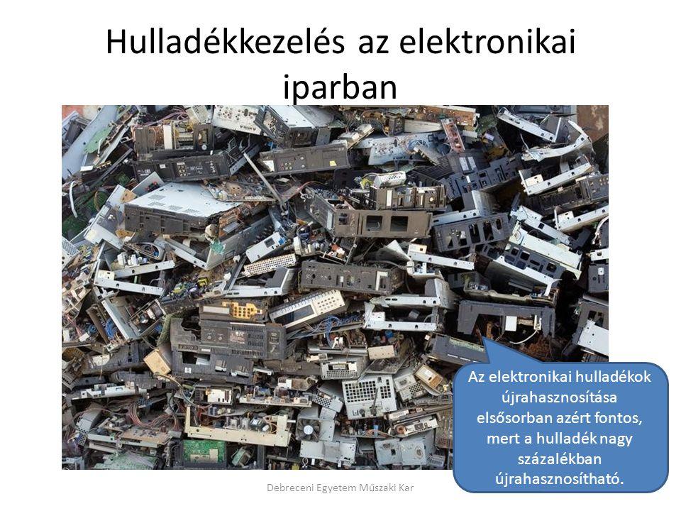 Hulladékkezelés az elektronikai iparban Debreceni Egyetem Műszaki Kar Az elektronikai hulladékok újrahasznosítása elsősorban azért fontos, mert a hull