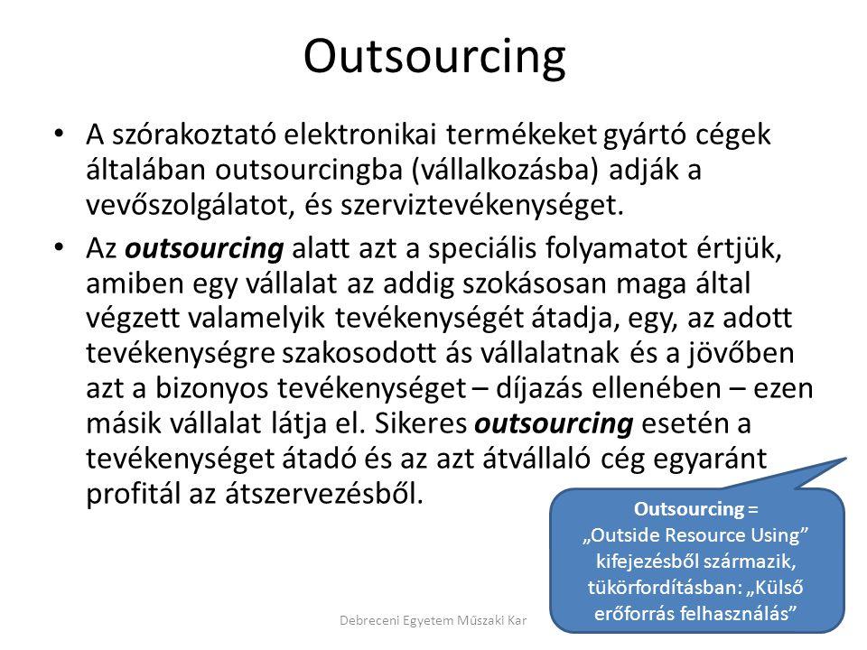 Outsourcing A szórakoztató elektronikai termékeket gyártó cégek általában outsourcingba (vállalkozásba) adják a vevőszolgálatot, és szerviztevékenység