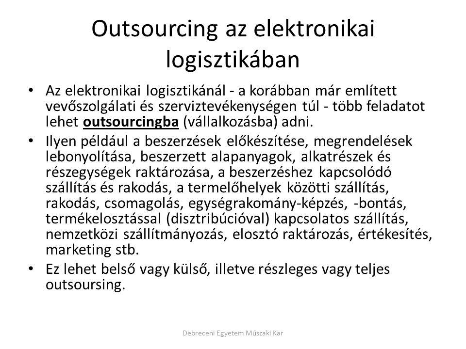 Outsourcing az elektronikai logisztikában Az elektronikai logisztikánál - a korábban már említett vevőszolgálati és szerviztevékenységen túl - több fe