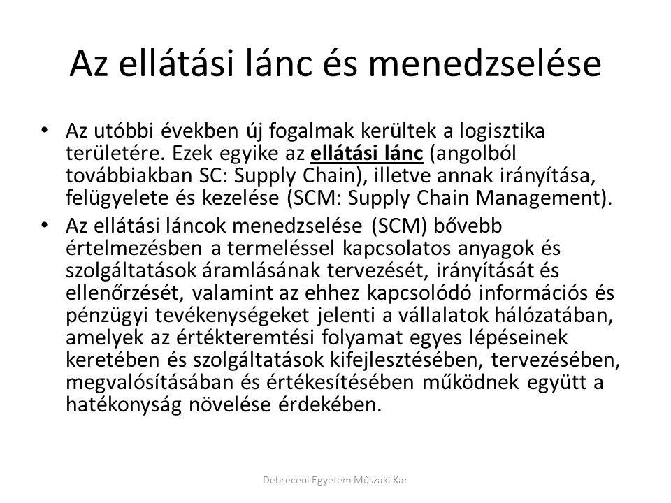 Az ellátási lánc és menedzselése Az utóbbi években új fogalmak kerültek a logisztika területére. Ezek egyike az ellátási lánc (angolból továbbiakban S