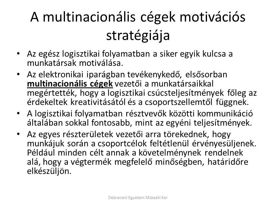 A multinacionális cégek motivációs stratégiája Az egész logisztikai folyamatban a siker egyik kulcsa a munkatársak motiválása. Az elektronikai iparágb