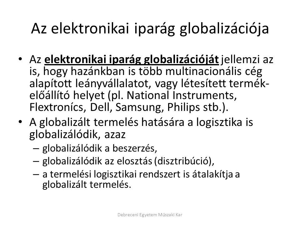 Az elektronikai iparág globalizációja Az elektronikai iparág globalizációját jellemzi az is, hogy hazánkban is több multinacionális cég alapított leán