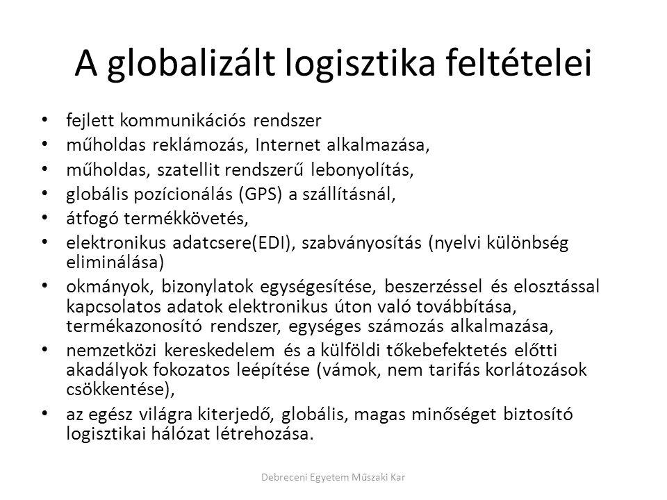 A globalizált logisztika feltételei fejlett kommunikációs rendszer műholdas reklámozás, Internet alkalmazása, műholdas, szatellit rendszerű lebonyolít