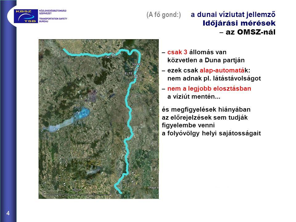 (A fő gond:) a dunai víziutat jellemző Időjárási mérések – az OMSZ-nál – csak 3 állomás van közvetlen a Duna partján – ezek csak alap-automaták: nem adnak pl.