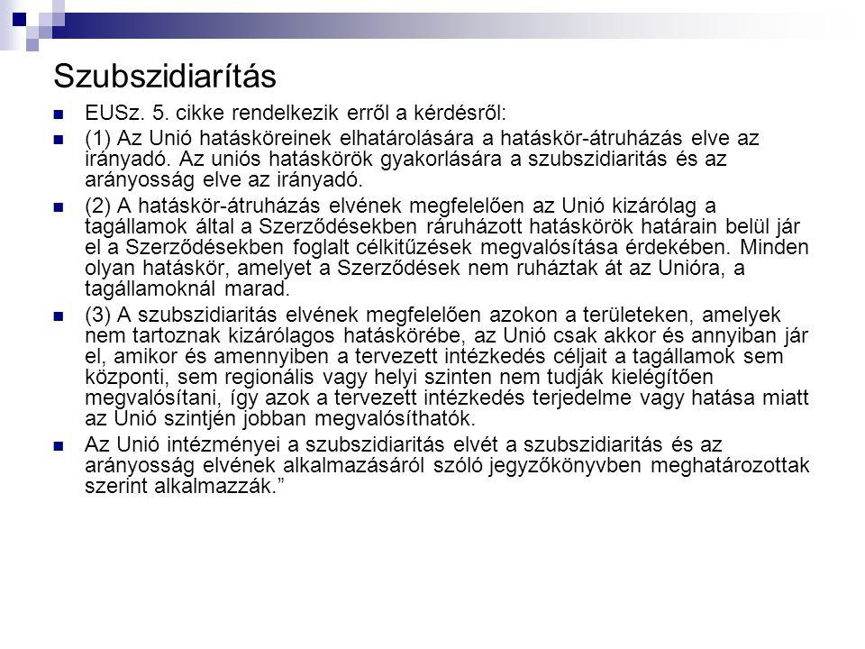Szubszidiarítás EUSz. 5.