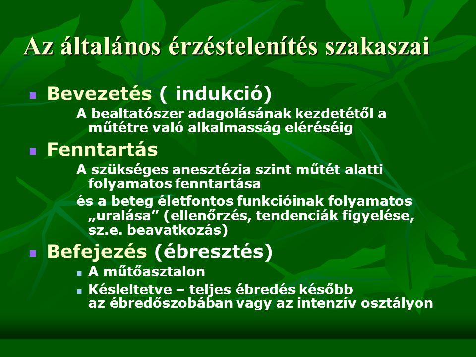 Általános anesztézia gyógyszerei előkészítést szolgáló gyógyszerek előkészítést szolgáló gyógyszerek szedatívum, fájdalomcsillapító, vegetatív szerek