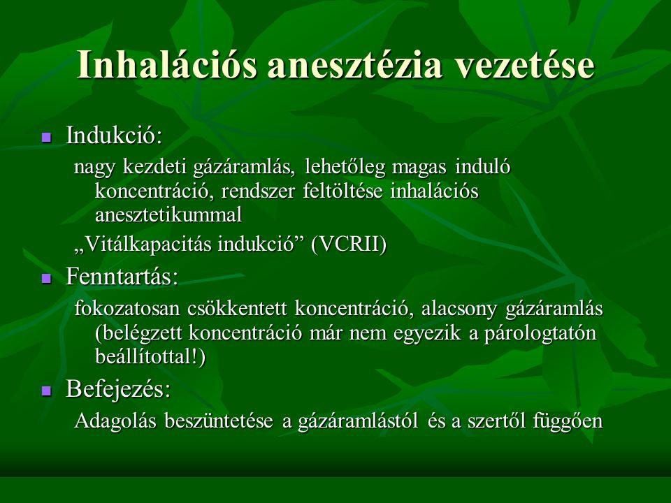Az anesztetikum felvételét befolyásolja Belégzési koncentráció (parciális nyomás) Belégzési koncentráció (parciális nyomás) Alveoláris ventilláció Alveoláris ventilláció Vér-gáz megoszlási hányados (ha rossz az oldékonyság, hamar telítetté válik a vér) Vér-gáz megoszlási hányados (ha rossz az oldékonyság, hamar telítetté válik a vér) Szövetek felvétele, telítettsége Szövetek felvétele, telítettsége A felvétel kinetikájára jellemző az alveoláris (kilégzésvégi) és a belégzett anesztetikum közötti koncentráció-különbség: F A /F I – folyamatos adagolás esetén lassan egyensúly alakul ki