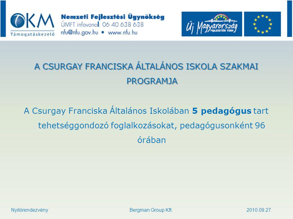 A CSURGAY FRANCISKA ÁLTALÁNOS ISKOLA SZAKMAI PROGRAMJA A Csurgay Franciska Általános Iskolában 5 pedagógus tart tehetséggondozó foglalkozásokat, pedag