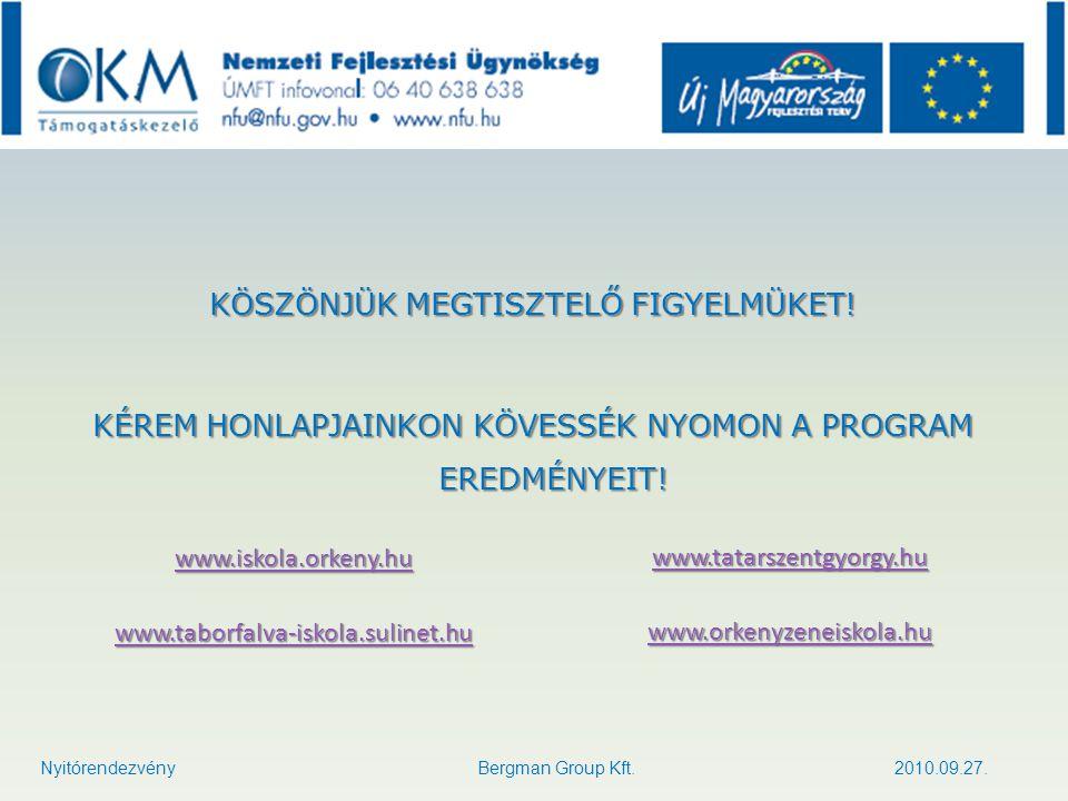 KÖSZÖNJÜK MEGTISZTELŐ FIGYELMÜKET! KÉREM HONLAPJAINKON KÖVESSÉK NYOMON A PROGRAM EREDMÉNYEIT! Nyitórendezvény Bergman Group Kft. 2010.09.27. www.iskol