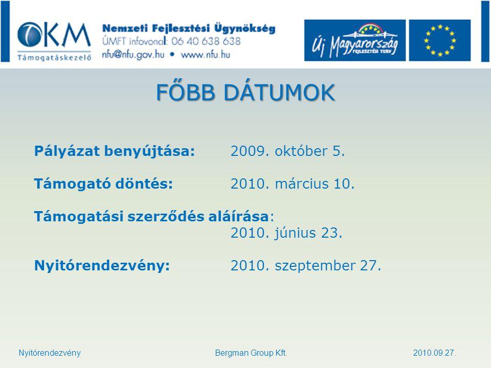 FŐBB DÁTUMOK Pályázat benyújtása: 2009. október 5. Támogató döntés: 2010. március 10. Támogatási szerződés aláírása: 2010. június 23. Nyitórendezvény:
