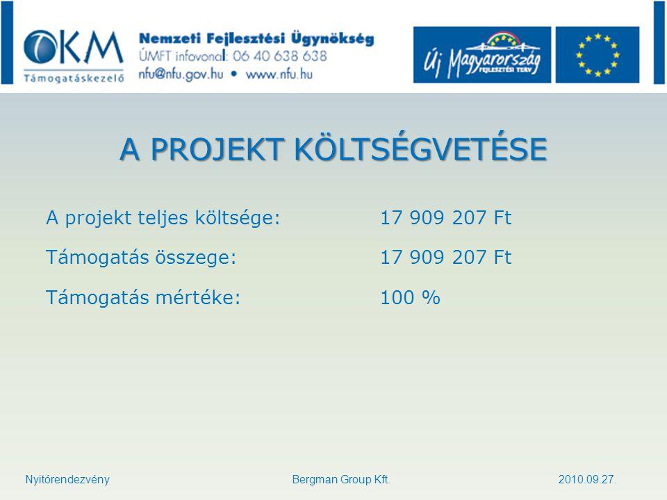 A PROJEKT KÖLTSÉGVETÉSE A projekt teljes költsége:17 909 207 Ft Támogatás összege:17 909 207 Ft Támogatás mértéke:100 % Nyitórendezvény Bergman Group