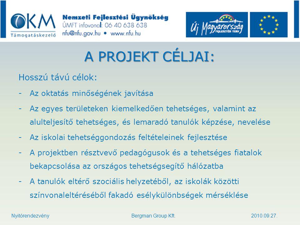 TATÁRSZENTGYÖRGYI ÁLTALÁNOS ISKOLA Nyitórendezvény Bergman Group Kft. 2010.09.27.