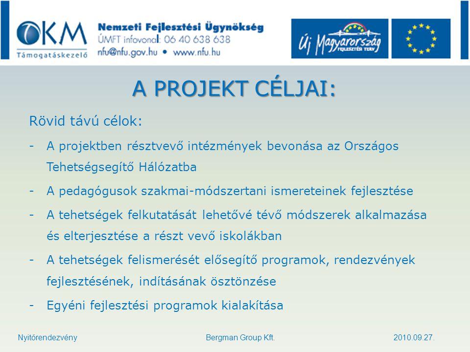 A PROJEKT CÉLJAI: Rövid távú célok: -A projektben résztvevő intézmények bevonása az Országos Tehetségsegítő Hálózatba -A pedagógusok szakmai-módszerta