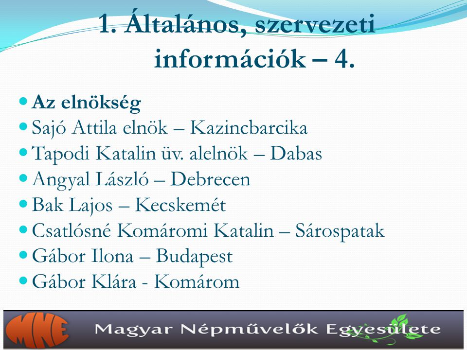1.Általános, szervezeti információk – 5.