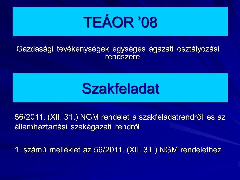 TEÁOR '08 Gazdasági tevékenységek egységes ágazati osztályozási rendszere Szakfeladat 56/2011.