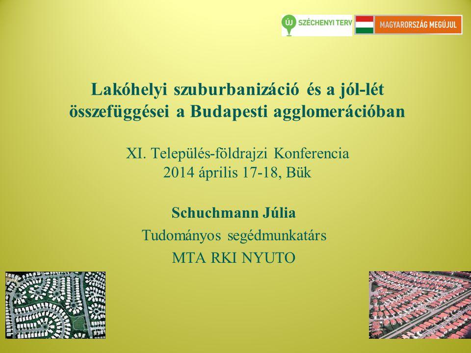 Tartalom 1.Társadalmi jól lét problematika rövid bemutatása 2.Lakóhelyi szuburbanizáció lehetséges következményei a városkörnyéki lakosság általános jól-létére (vonatkozó szakirodalom alapján) 3.Lakóhelyi szuburbanizáció a Budapesti agglomerációban és az itt élők jól létét befolyásoló és mutató tényezők ( empírikus kutatási eredmények alapján) 3.1 Lakóhelyi elégedettség 3.2 Költözési szándékok 4.További kutatási irányok