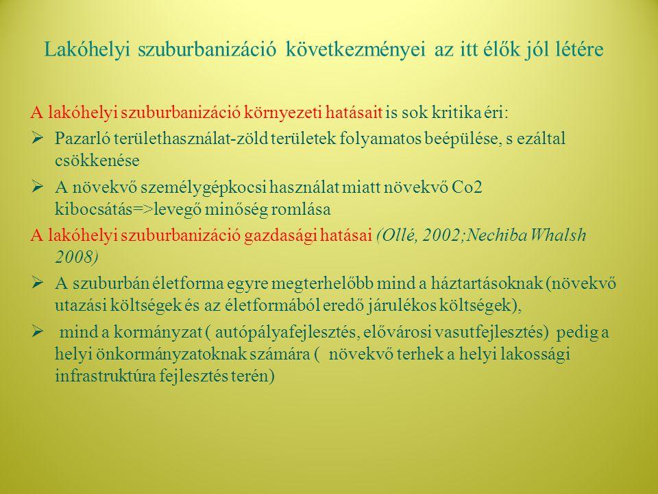 Kutatási kérdés Mennyiben járul hozzá a szuburbán életforma a Budapesti agglomerációban élők jól-létéhez.