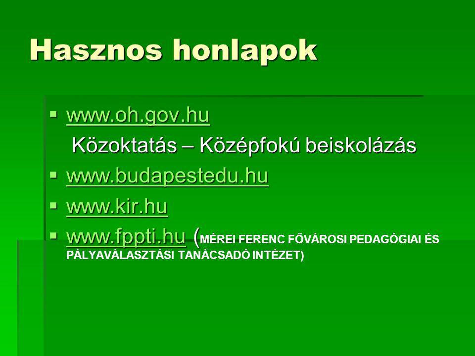 Hasznos honlapok  www.oh.gov.hu www.oh.gov.hu Közoktatás – Középfokú beiskolázás Közoktatás – Középfokú beiskolázás  www.budapestedu.hu www.budapestedu.hu  www.kir.hu www.kir.hu  www.fppti.hu (  www.fppti.hu ( MÉREI FERENC FŐVÁROSI PEDAGÓGIAI ÉS PÁLYAVÁLASZTÁSI TANÁCSADÓ INTÉZET) www.fppti.hu