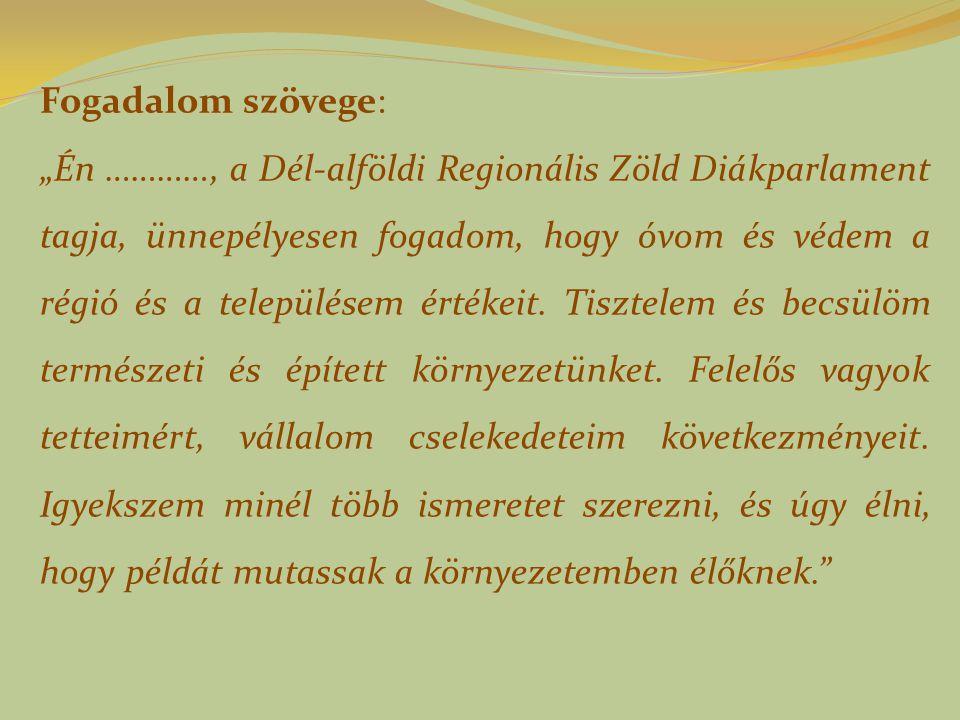 """Fogadalom szövege: """"Én …………, a Dél-alföldi Regionális Zöld Diákparlament tagja, ünnepélyesen fogadom, hogy óvom és védem a régió és a településem értékeit."""
