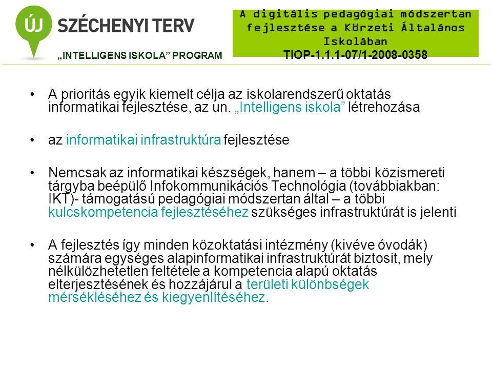 A digitális pedagógiai módszertan fejlesztése a Körzeti Általános Iskolában TIOP-1.1.1-07/1-2008-0358 Az élethosszig tartó tanulás kulcskompetenciainak fejlesztéséhez szükséges, egyenlő hozzáférést biztosító IKT infrastruktúra megteremtése Magyarországon A közoktatási intézmények (kivéve óvodák) számítógép állományának korszerűsítése a pedagógiai, mérés- értékelési, valamint adminisztrációs feladatok igényeinek megfelelő infrastruktúra kialakítása érdekében, (Iskolai munkaállomások számának növelése – 10 tanuló/PC) Tantermek 40 %-ának ellátása Internet hozzáférési képességgel rendelkező interaktív prezentációs eszközökkel (Tantermi csomag = interaktív tábla + projektor + számitógép) TIOP-1.1.1-07/1 RÉSZCÉLOK
