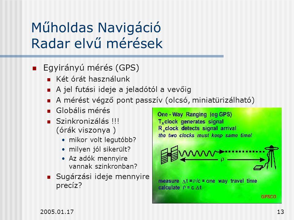 2005.01.1713 Műholdas Navigáció Radar elvű mérések Egyirányú mérés (GPS) Két órát használunk A jel futási ideje a jeladótól a vevőig A mérést végző po