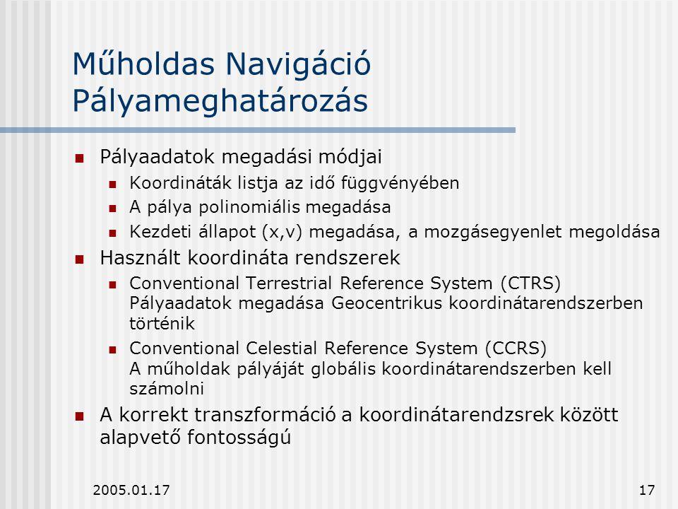 2005.01.1717 Műholdas Navigáció Pályameghatározás Pályaadatok megadási módjai Koordináták listja az idő függvényében A pálya polinomiális megadása Kez