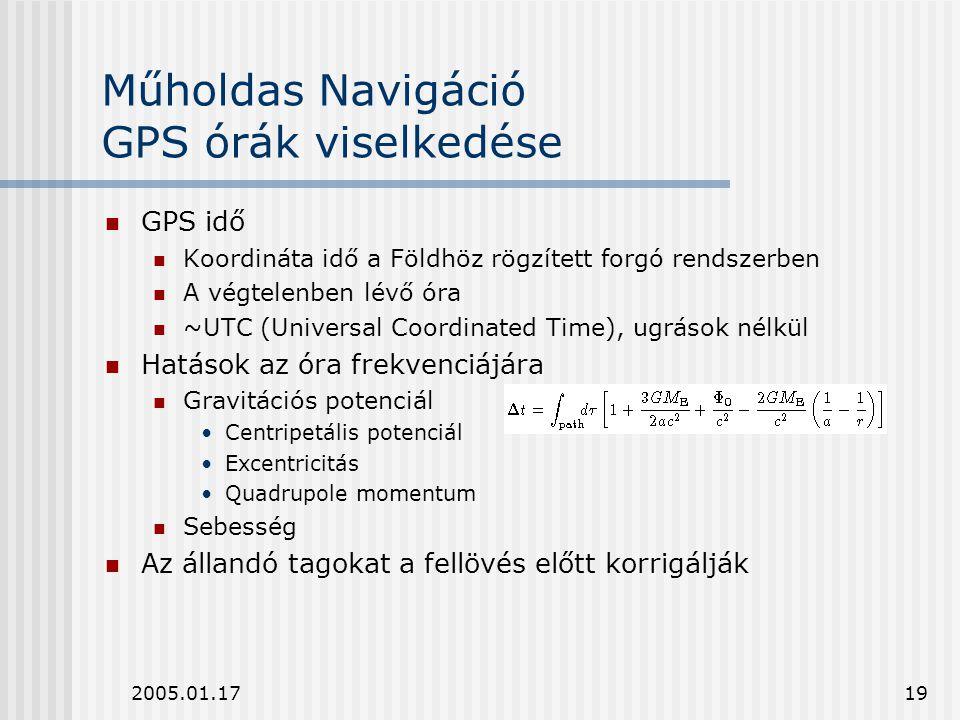 2005.01.1719 Műholdas Navigáció GPS órák viselkedése GPS idő Koordináta idő a Földhöz rögzített forgó rendszerben A végtelenben lévő óra ~UTC (Univers