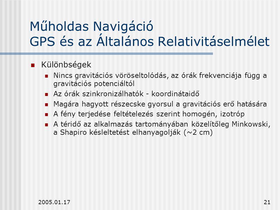 2005.01.1721 Műholdas Navigáció GPS és az Általános Relativitáselmélet Különbségek Nincs gravitációs vöröseltolódás, az órák frekvenciája függ a gravi