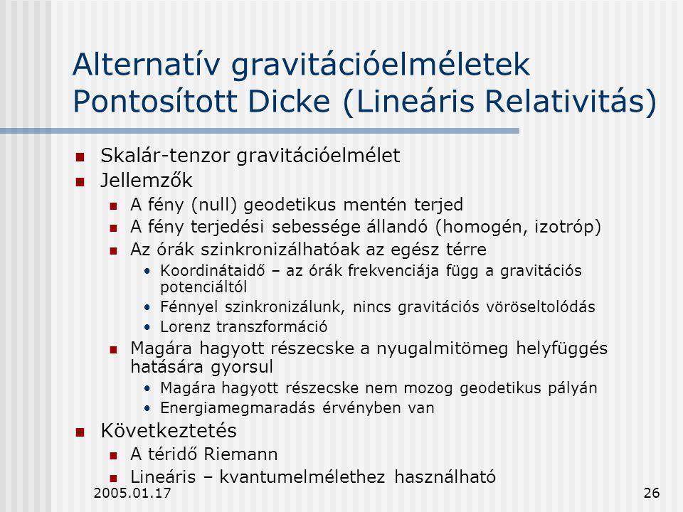 2005.01.1726 Alternatív gravitációelméletek Pontosított Dicke (Lineáris Relativitás) Skalár-tenzor gravitációelmélet Jellemzők A fény (null) geodetiku