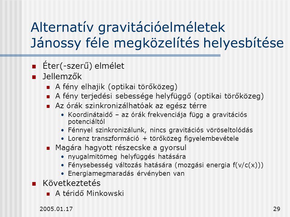 2005.01.1729 Alternatív gravitációelméletek Jánossy féle megközelítés helyesbítése Éter(-szerű) elmélet Jellemzők A fény elhajik (optikai törőközeg) A
