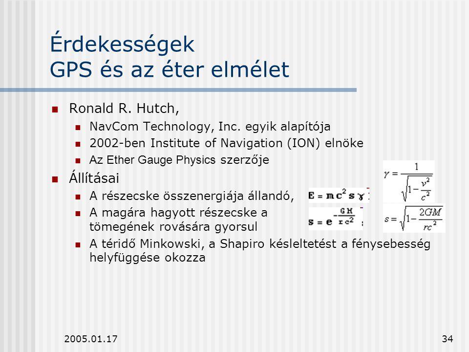 2005.01.1734 Érdekességek GPS és az éter elmélet Ronald R. Hutch, NavCom Technology, Inc. egyik alapítója 2002-ben Institute of Navigation (ION) elnök
