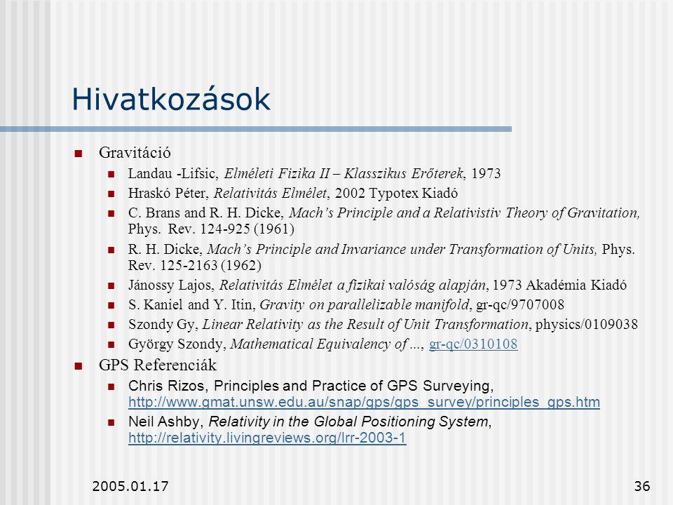 2005.01.1736 Hivatkozások Gravitáció Landau -Lifsic, Elméleti Fizika II – Klasszikus Erőterek, 1973 Hraskó Péter, Relativitás Elmélet, 2002 Typotex Ki