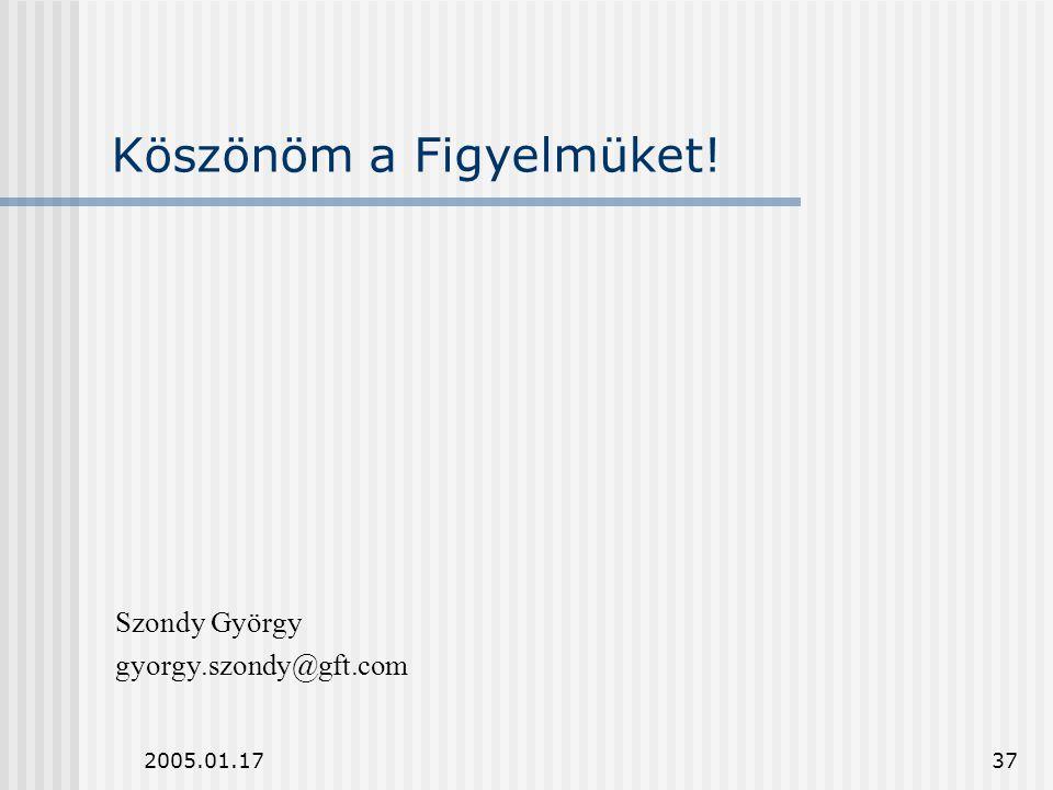 2005.01.1737 Köszönöm a Figyelmüket! Szondy György gyorgy.szondy@gft.com