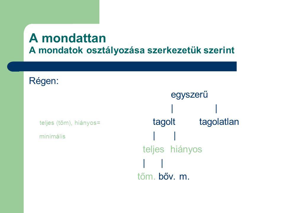 A mondattan A mondatok osztályozása szerkezetük szerint Régen: egyszerű | teljes (tőm), hiányos= tagolttagolatlan minimális | | teljes hiányos | tőm.