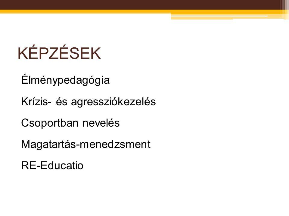 KÉPZÉSEK Élménypedagógia Krízis- és agressziókezelés Csoportban nevelés Magatartás-menedzsment RE-Educatio