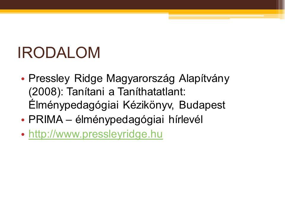 IRODALOM Pressley Ridge Magyarország Alapítvány (2008): Tanítani a Taníthatatlant: Élménypedagógiai Kézikönyv, Budapest PRIMA – élménypedagógiai hírle