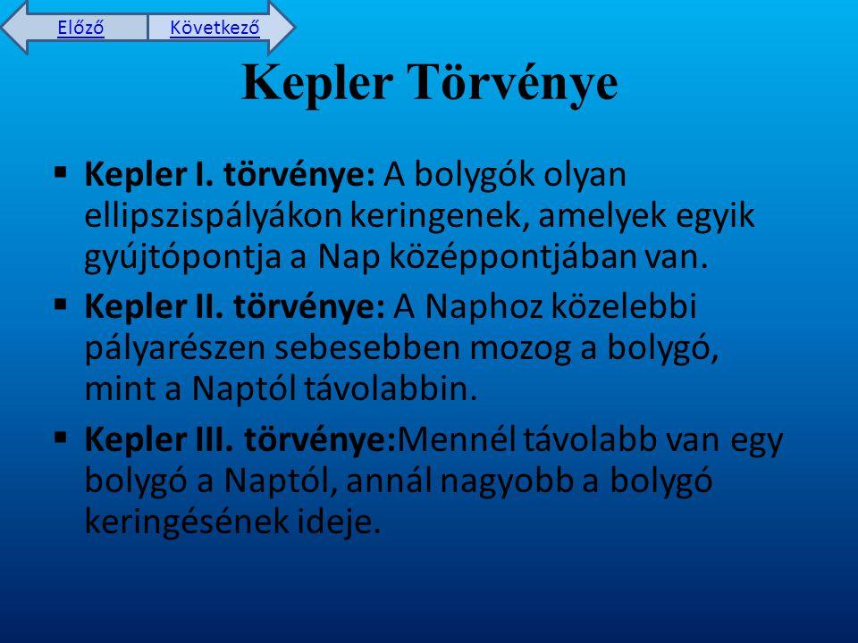 Előző Következő Kepler Törvénye  Kepler I.